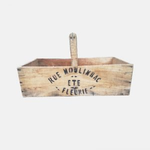 French Wooden 'Rue Moulinbac' Flower Trug With Handle