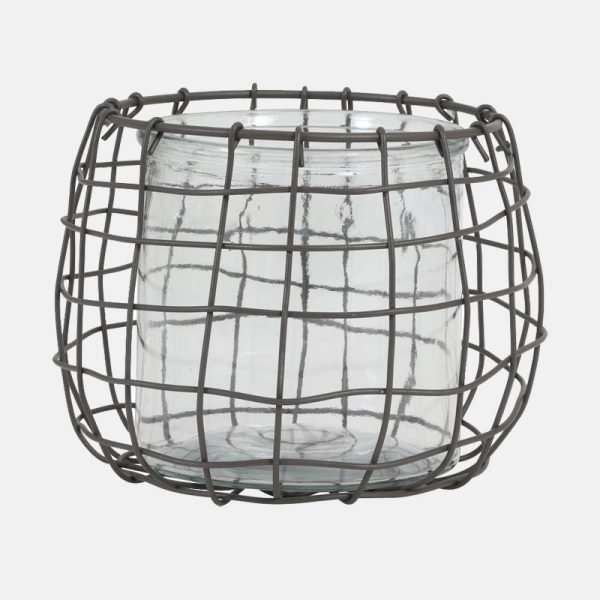 Light & Living Sarena Grey Wire With Glass Hurricane Vase