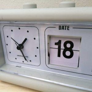 Monograph Multifunction Grey Retro Clock With Alarm And Calendar – MGEA0401