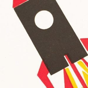 Bits and Bobs Rocket Letterpress Mini Card Close Up