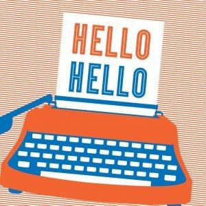 Letterpress Hello Hello Typewriter Postcard