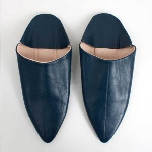 Moroccan Classic Pointed Leather Babouche Slippers (Indigo)