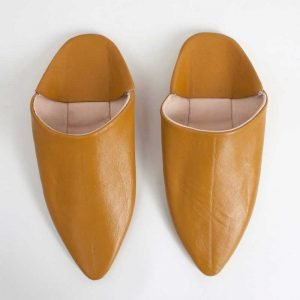 Moroccan Classic Pointed Leather Babouche Slippers (Mustard)
