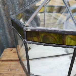 Vintage Leaded Terrarium With Coloured Glass