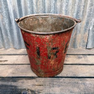 Vintage Red fire bucket with handle