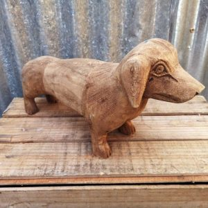 Vintage Wooden Sausage Dog Carving