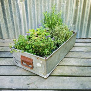 rectangular galvanised metal storage tray