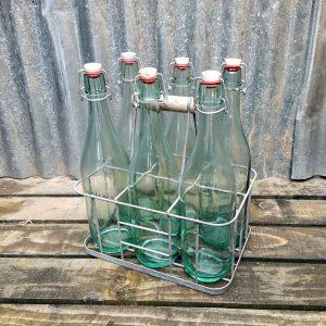 Metal Framed Milk Bottle Or Wine Bottle Carrier - 6 Bottles