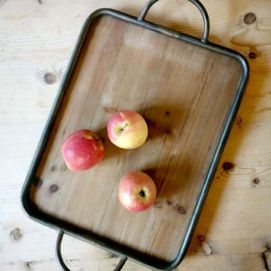 wooden tray with metal edge