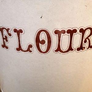 VinVintage White Enamel Flour Bintage-White-Enamel-Flour-Bin—Close