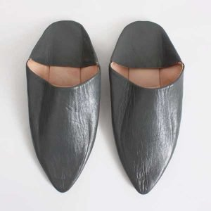 Moroccan Classic Pointed Leather Babouche Slippers - Grey