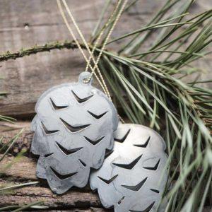 Hanging Metal Pinecone Christmas Decoration