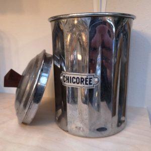 Vintage French Chrome Chicoree Jar