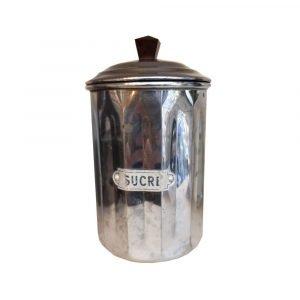Vintage French Chrome Sucre Jar