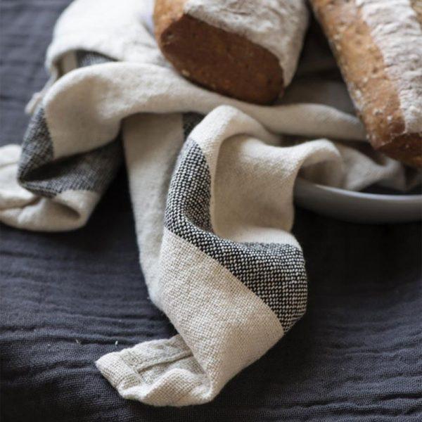 Cotton Tea Towel With Black Colour Stripes
