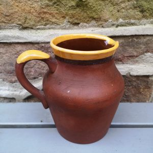 Vintage Yellow Topped Terracotta Jug