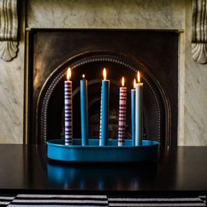 Petrol Blue Oval Metal Candle Platter