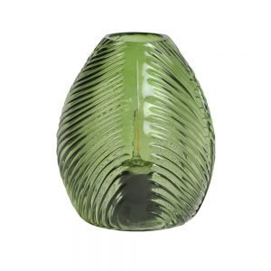 Battery Powered LED Green Leaf Glass Table Lamp