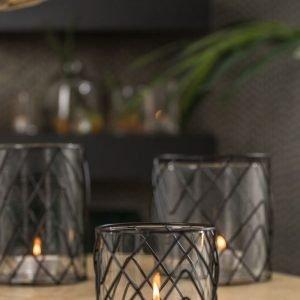 Green Wire Glass Tealight Hurricane Vase