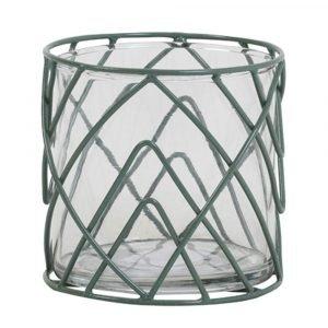 Large Sage Green Wire Hurricane Vase