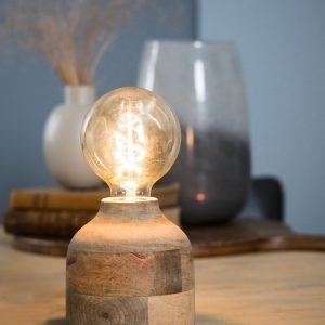 Round Weathered Wood Table Lamp (Tall)
