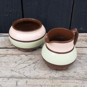 Vintage Sadler Pottery Sugar Bowl & Milk Jug