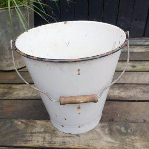 Vintage White Enamel Bucket Planter