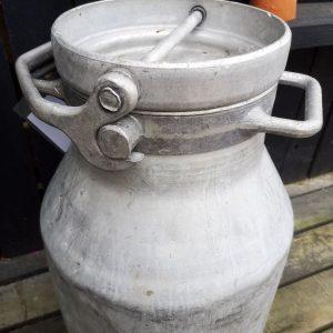Vintage Aluminium Milk Churn With Locking Lid