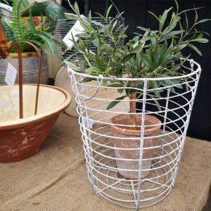 Vintage Metal White Wire Basket