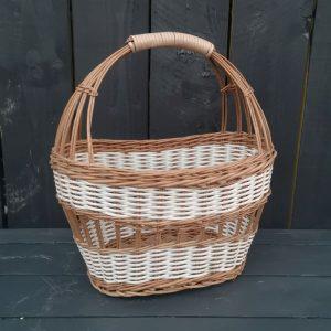 Vintage White Striped Wicker Shopping Basket