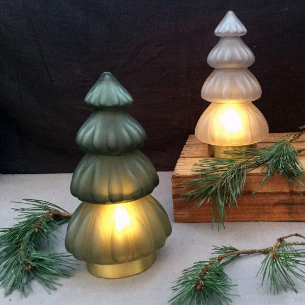 Glass Christmas Tree LED Table Lamps