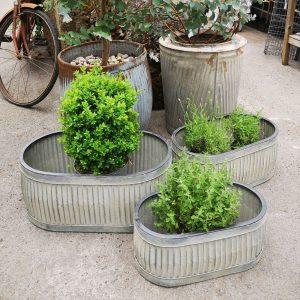 Metal Oval Trough Planters