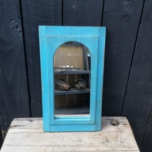 blue painted Indian mirror