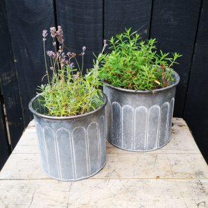 Ribbed Zinc Planter Pots