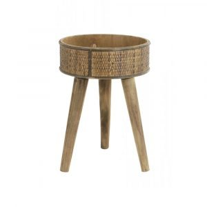 Round Wooden Pot Stand Side Table